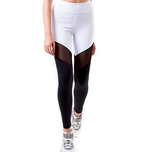 Calça Legging Kenji Com Recorte Em Tule - Branco E Preto