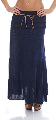 malito jupe avec ceinture t Stretch Maxi A-ligne 1116 Femme Taille Unique Bleu Fonc