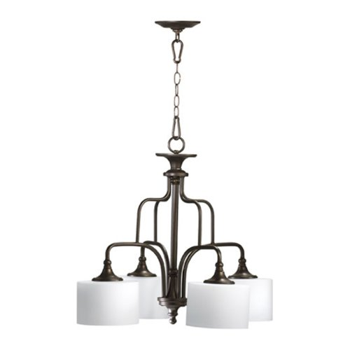 Quorum International 6390-4-86 Rockwood Collection 4-Light Nook, Oiled Bronze Finish with Satin Opal - Mission Nook