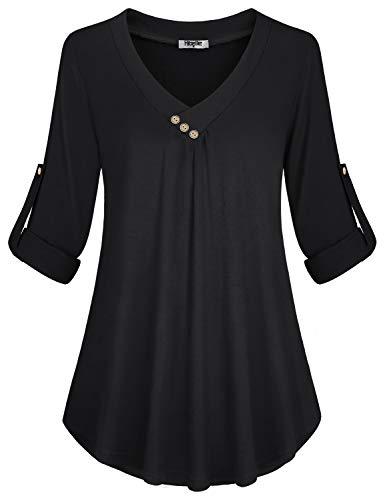 Hibelle Business Blouses for Women, Office Work Latest Novelty Shirt Stylish Vneck Buttons Roll Sleeve A-Line Flowy Stretchable Design Long Tunic Flyaway Shirttail Hem Tops Black Large