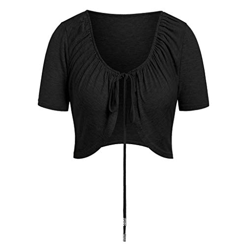 TUSANG Women Tees Solid Short Sleeve Chest Lace Up Casual Short Crop Overall Top Casual Slim Fit Comfy Tunic(Black,US-6/CN-M)