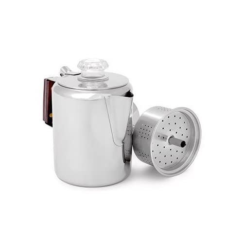 Image of GSI Outdoors Glacier Stainless Coffee Percolator, Campfire, 36-Cup Coffee & Tea Pots