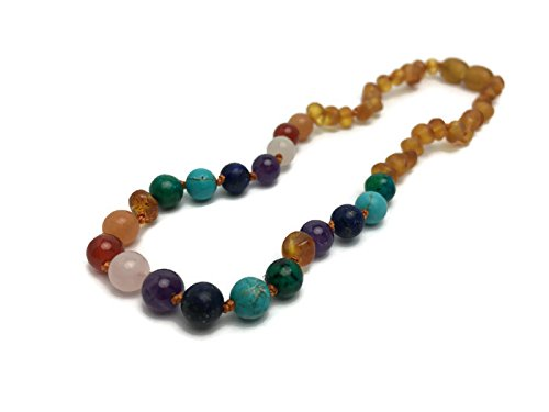 Baltic Amber Teething Necklace Toddler Baby Teething Pain Relief Honey Half Rainbow 12.5