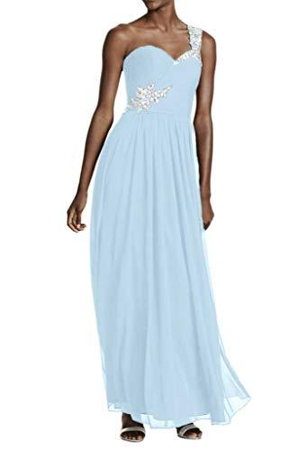 Perlen Chiffon Silber La Einfach Promkleider Blau Partykleider Abendkleider Linie A Rock Hell Braut Lang mia Traeger Pailletten EIN ttR48