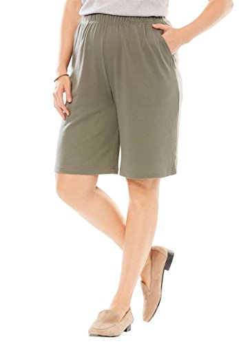 Woman Within Women's Plus Size Shorts In 7-Day Knit Olive Grey,1X