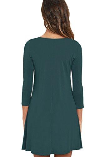 Viishow Poches T-shirt Simple Simple Occasionnels Robe Lâche Vert Foncé Des Femmes