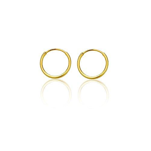 14k Solid Yellow Gold Hoop - 14K Gold Yellow Endless Hoop Earrings