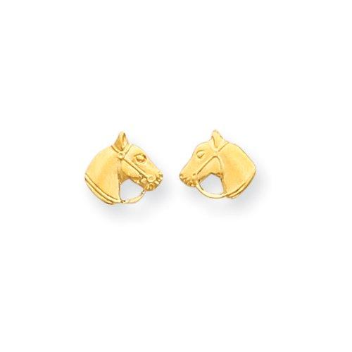 Horse Head Earrings (Girls Horse Head Screw Back Post Earrings in 14k Yellow Gold)