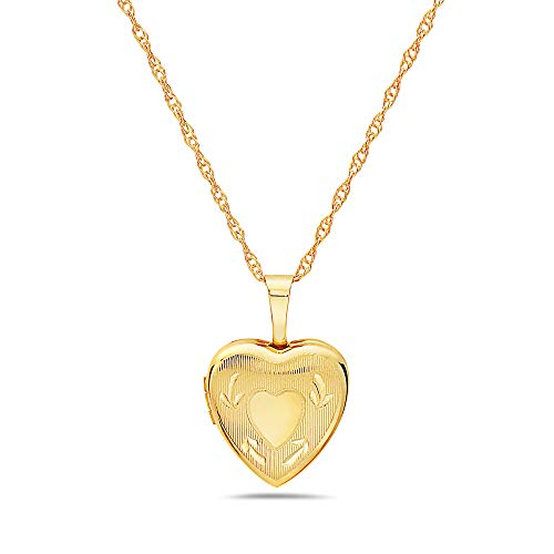 Pori Jewelers 14K Solid Yellow Gold 12mm Heart Locket Pendant Necklace-in 14K Gold Rope Chain Available (18, Heart with Arrows) by Pori Jewelers (Image #6)