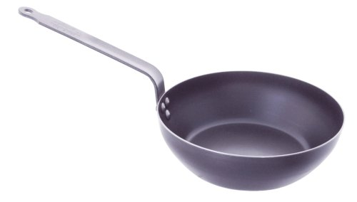De Buyer Professional 24 cm Blued Iron Force Blue Country Frypan with Riveted Handle 5314.24