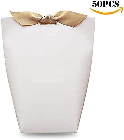 YUECUTE - Pack de 50 cajas para caramelos cortadas a láser, y con cintas. Cajas de regalo para despedidas de soltera, bodas, recuerdos y decoración de fiestas, Pascua, etc. Large blanco: Amazon.es: