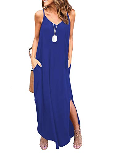 (HUSKARY Women's Summer Sleeveless Casual Strappy Split Loose Dress Beach Cover Up Long Cami Maxi Dresses with Pocket Navy Blue)
