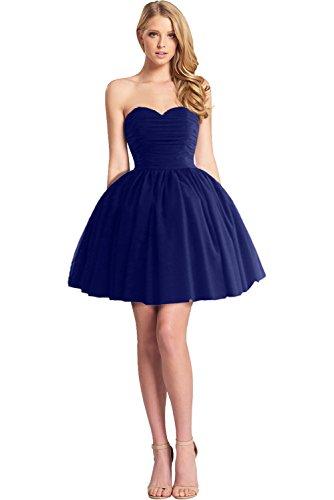 forma Blu stanotte raso giovane tulle Royal a colore vestimento Victory in lungo a corta vestimento Bete di vestimento facile ball cuore vestimento sposa 1vtpWFwq