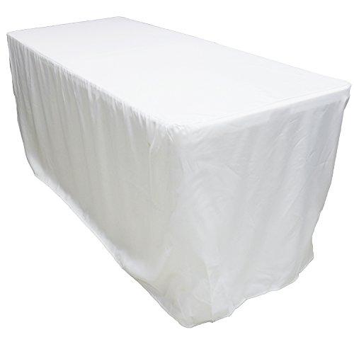 Polyester Rectangular Table - KAITATSU SEN 6 ft. Fitted Rectangular Polyester Tablecloth, White, 30x72-inch