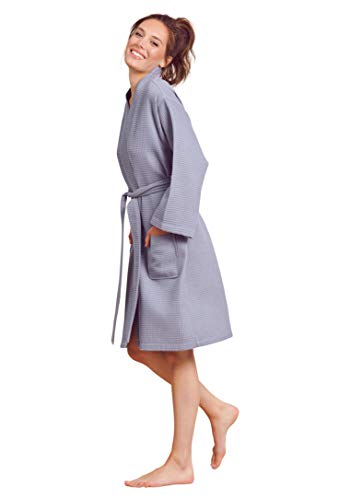 Soft Touch Linen Women's Waffle Robe. Knee Length, Lightweight, Absorbent (Small, Grey) (Waffle Robe)