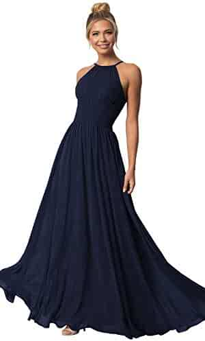 355a965eebbf8 (1) Views. Women's Halter Bridesmaid Dress Long A Line Chiffon Prom Formal  Evening Party Gown Ruched Bodice. Contact