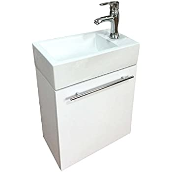 SMALL BATHROOM VANITY CABINET AND SINK WHITE - PE1612W NEW PETITE ...