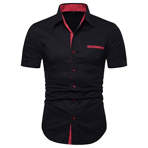- Manwan walk Mens Casual Button Down Shirts Short Sleeve Regular Fit Inner Contrast Dress Shirt Black