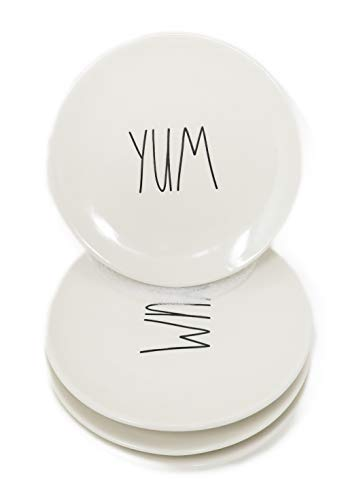 Harmony Round Serving Plate - Rae Dunn By Magenta Set Of 4 YUM Ceramic LL Appetizer Plates
