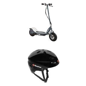 Razor E300 Electric Scooter - Matte Gray and Razor V-17 Youth Multi-Sport Helmet