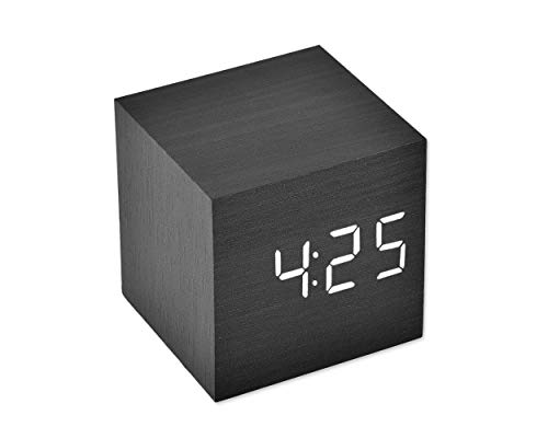 Ace Select LED Alarm Clock Wooden Digital Alarm Clock Wood Cube Clock with Voice Activation, Date Time and Temperature Display Alarm Function for Home and Office - Black (White Display)