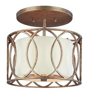 Troy Lighting Sausalito 3-Light Semi Flush - Silver Gold Finish with Hardback Linen Shade ()