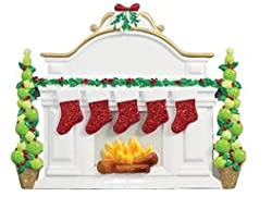 Personalized Fireplace Mantle With 5 Stockings Table Display