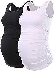 Liu & Qu Maternity Tank Tops Sleeveless Ruching Pregnancy Clothes for W