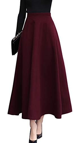 - chouyatou Women's Fall Winter A-Line Swing Pleated Long Maxi Wool Skater Skirt (Small, Wine Red)