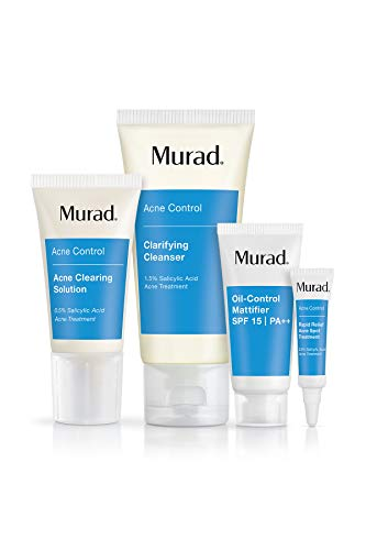 Murad 30 Day Acne Control Kit - (Cleanser, Clearing Solution, Oil Control Mattifier, Spot Treatment), Starter Kit Proven to Rapidly Clear Breakouts and Restore Smooth Skin Without Over-Drying ()