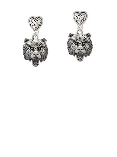 Large Bear - Mascot - Celtic Heart Earrings -