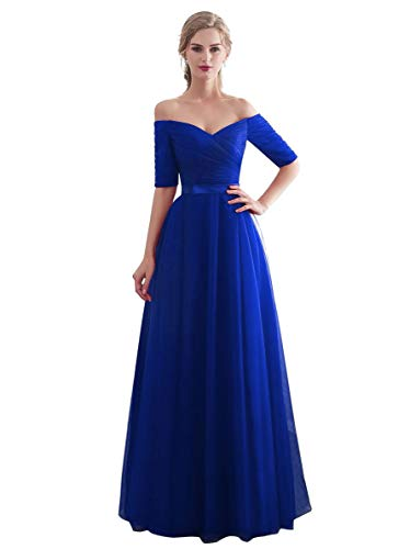 Beauty-Emily Fashionable Off-Shoulder Prom Dress Long Bridesmaid Dresses Young Ladies Evening Gown Color Royal Blue, Size 06/08