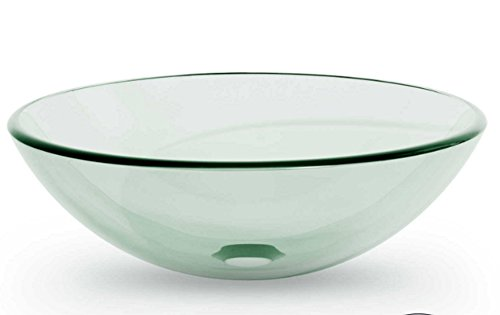 Modern Vessel Clear Bathrooms Glass Round Vanity Basin Washroom Bowl (Onyx Eyes Pin)