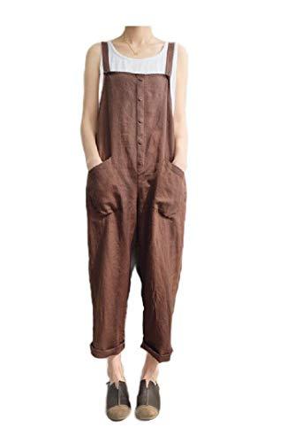 AngelSpace Women Cozy Pork Chop Pocket Leisure Linen Oversized Bib Trousers Coffee M ()