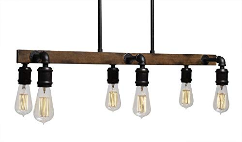 (Toltec Lighting 1136-AT18 Portland 6 Light Island Bar with Bulbs, Amber Antique)