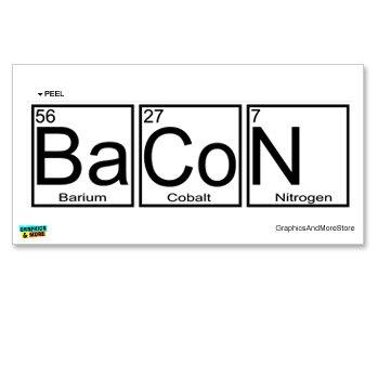 Amazon bacon periodic table barium cobalt nitrogen window bacon periodic table barium cobalt nitrogen window bumper locker sticker urtaz Gallery