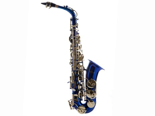 Hawk WD-S416-BL Student Alto Saxophone with Case, Mouthpiece and Reed, Blue
