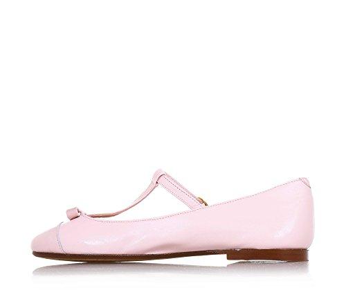 ELI - Ballerine rose en cuir, réalisée de façon artisanale en Espagne, indiquée pour les occasions de cérémonie, Fille, Filles, femme, Femmes