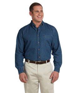 Harriton Men's Long Sleeve Denim Shirt, M, Light Denim