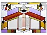 Deco Architectural Geometric Art Glass Panel Wall Window Hanging Suncatcher 14 x 20