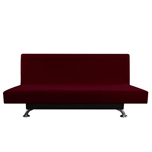 - Easy-Going Futon Fleece Stretch Sofa Slipcover Micro Fiber Non-Slip Couch Sofa Cover, Armless Washable Furniture Protector with Elastic Bottom for Kids, Pets(Futon,Wine)