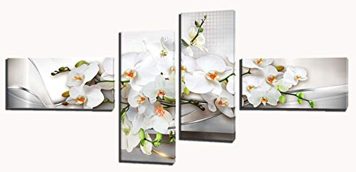 (Butterfly Orchid Painting Wall Art - Flower Canvas Pictures for Wall, Framed Posters Painting for Bedroom Living Room (White Yellow Green, 12X24inchX2pcs,12X30inchX2pcs))