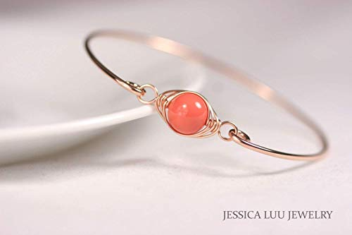 (Rose Gold Orange Coral Bangle Bracelet Coral Swarovski Pearl Bracelet Wire Wrapped Bracelet Choice of Rose or Yellow Gold)