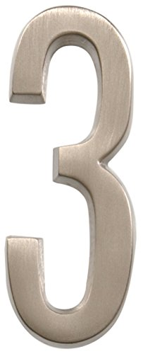 Nickel 3 Address Numbers - Distinctions by Hillman 843283 4-Inch Die Cast Self-Adhesive House Address Plaque, Brushed Nickel, Number 3