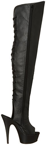 Pleaser DEL3019/B/PU, Botas Mujer Negro (Blk Faux Leather/Blk)