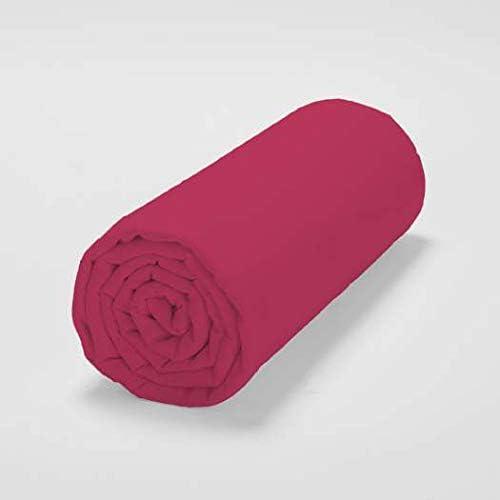 100% Sábana bajera de franela algodón, 160 x 200 cm, color rojo ...