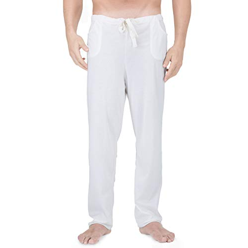 Cottonique Men's Latex-Free Drawstring Lounge Pants Made from 100% Organic Cotton (Natural) (S/M)