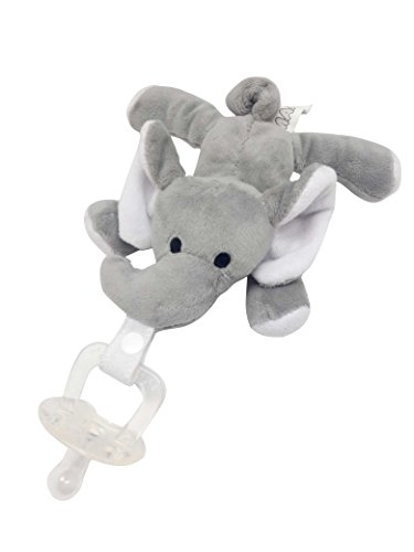 Maawu Baby Pacifier Elephant Toy. Clip Holder Animal Attaches or is Detachable. Cute for Newborn, 0-3 Months to Toddler, Girl or Boy. Safe Non-Toxic, BPA Free Silicone from Maawu