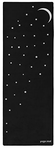 Yoga Zeal Moon and Stars Mat (in Black) - Printed, Non-Slip, Extra Thick, Grippy, Extra Long, Best Grip/Combo - All Star Mat