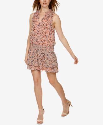 Lucky Brand Women's Printed Drop Waist Dress, Pink/Multi, L